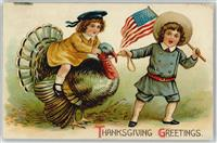Thanksgiving   Truthahn Litho AK  Kinder