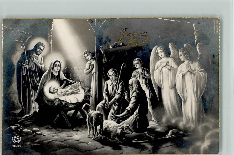 Fotomontage AK P.C. Paris Nr. 4238 - Krippenbild Weihnachten , gute ...
