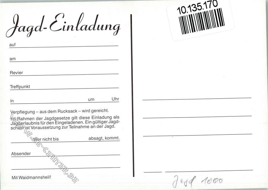 einladung zur jagd - jäger am lagerfeuer ak: ansichtskarten-center, Einladung