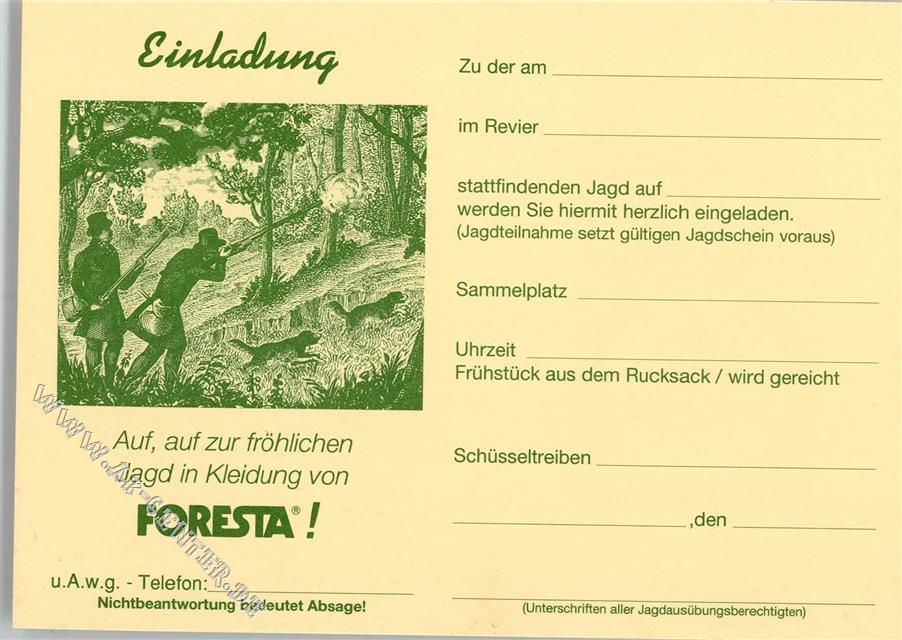 einladung zur jagd - werbung für greenwear foresta: ansichtskarten, Einladung