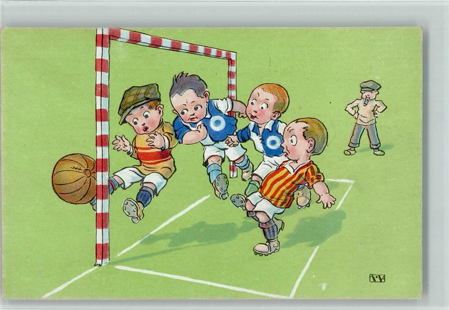 1925 Kunstlerkarte Fussball Comic Verlag Lp Serie 223 6 Ak