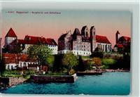 Rapperswil SG 1922 Burghalde und Schulhaus Abendrot Rapperswil-Jona