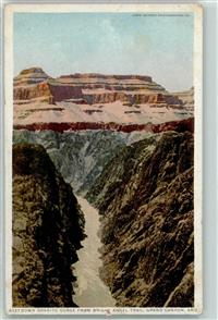 1930 Gebrauchsspuren Grand Canyon, Down Granite Gorge from Bright Angel Trail ,