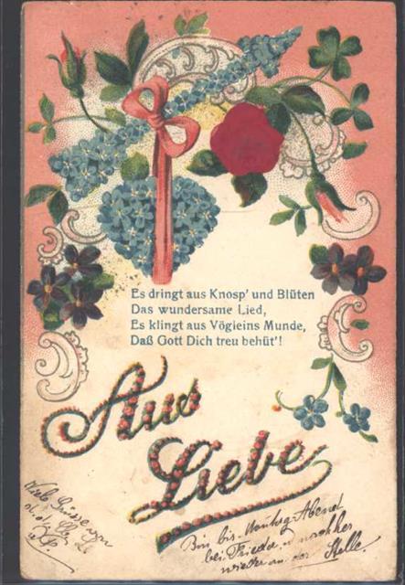 1906 Ak Mit Stoff Prägedruck Vergissmeinnicht Poesie Liebe