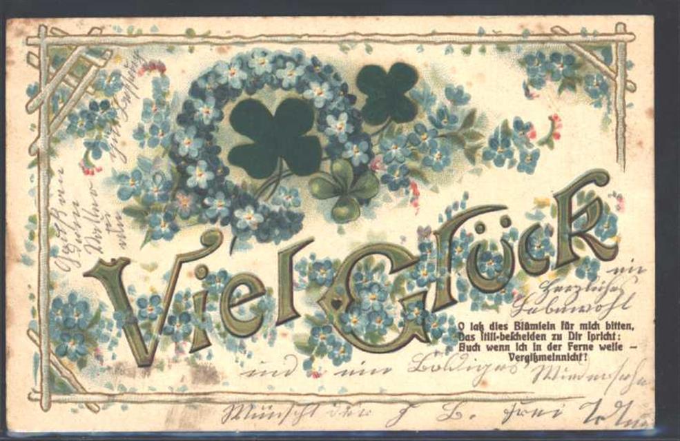 1905 Ak Mit Stoff Prägedruck Viel Glück Vergissmeinnicht Ak
