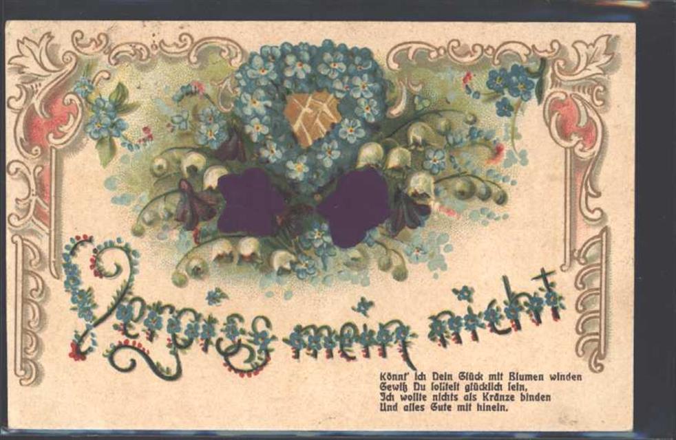 1912 Ak Mit Stoff Prägedruck Vergiss Mein Nicht Ak Spruch