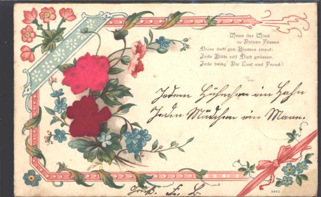 1903 Ak Mit Stoff Spruch Prägedruck Poesie Liebe