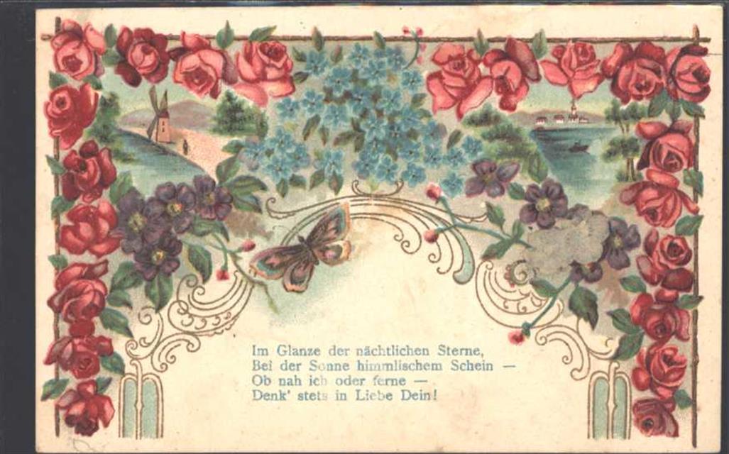 Ak Mit Stoff Prägedruck Poesie Liebe Rosen Schmetterling