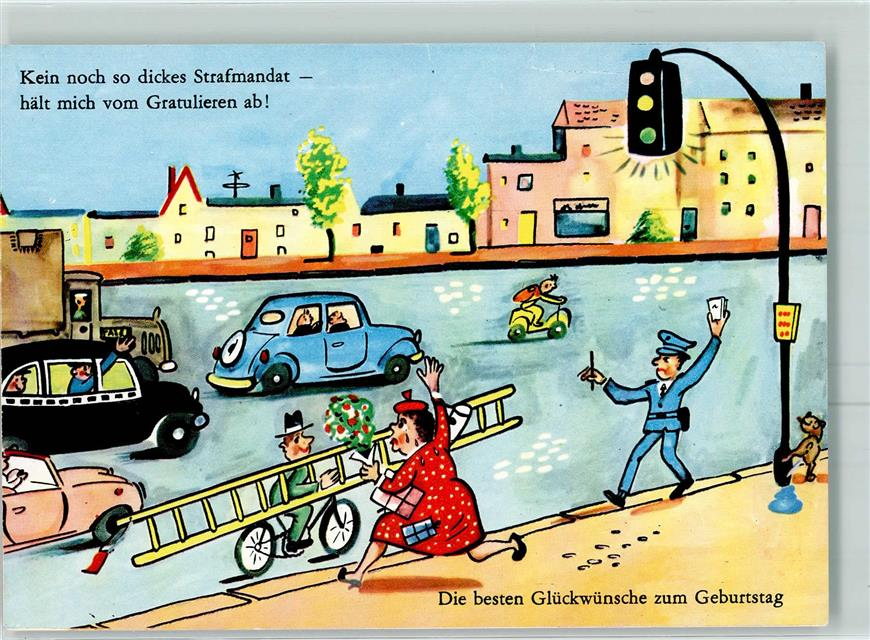Kunstlerkarte Comic Zoecke Humor Geburtstag Ak Ansichtskarten