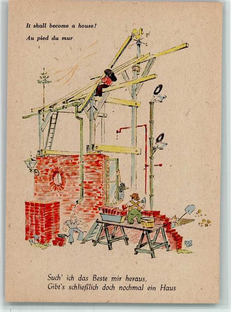 Künstlerkarte Humor Serie Neues Leben mit - Hausbau - Zeichnung ...