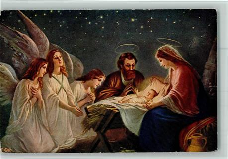 Christkind marie krippe jesus beten heiligenschein