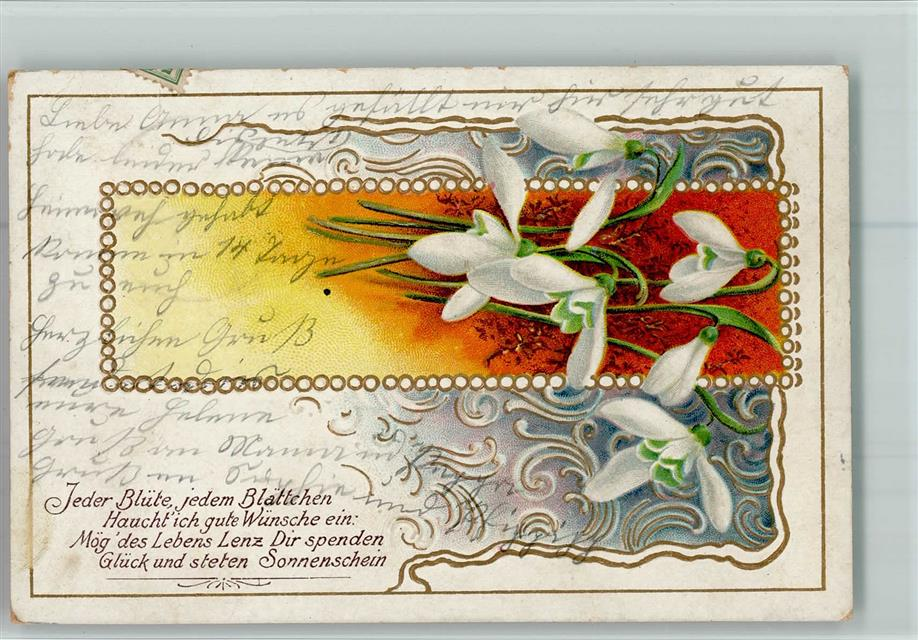 1905 Prägedruck Spruch Jugendstil Ornamente Vers Blüten Ak