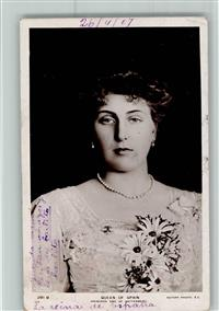 1907 Adel Spanien Queen of Spain - Rotary Photo 281 B AK Eckknick