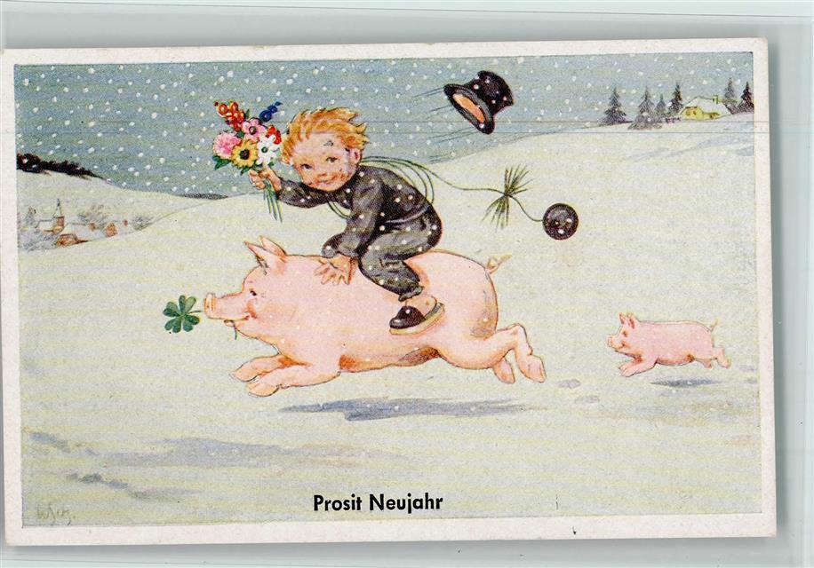 1951 Künstlerkarte Schornsteinfeger Reitet Auf Einem Schwein