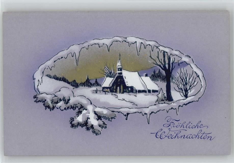 Weihnachten Winterlandschaft Kirche 1910 Litho Ak: Ansichtskarten ...