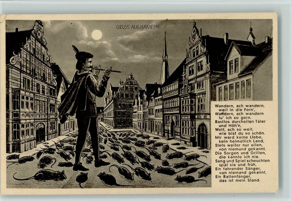 Super Maus Rattenfänger von Hameln - Auszug und Gedicht 1936 AK  VJ57