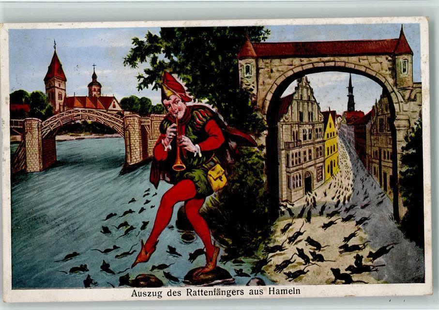 Célèbre Künstlerkarte Maus Rattenfänger von Hameln - Auszug 1938 AK  FV79