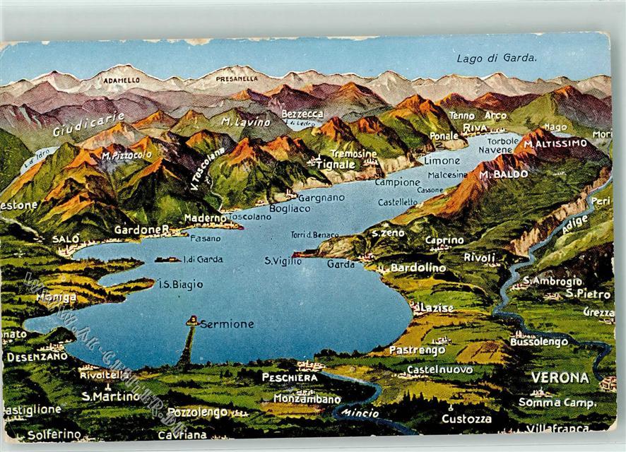 gardasee landkarte Verona Gardasee / Lago di Garda Landkarte: Ansichtskarten Center  gardasee landkarte