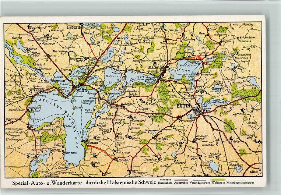 Holsteinische Schweiz Karte.2420 Eutin Landkarte Holsteinische Schweiz Ansichtskarten Center