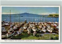 Auckland Boat Harbour and Rangitoto sign. B. B. Scott