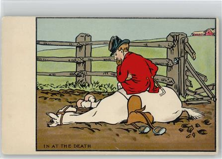 Reiten Humor - In at the Death - Litho AK
