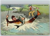 Angeln Künstler sign Tom B. - Fishing -  Humor -  1910 AK