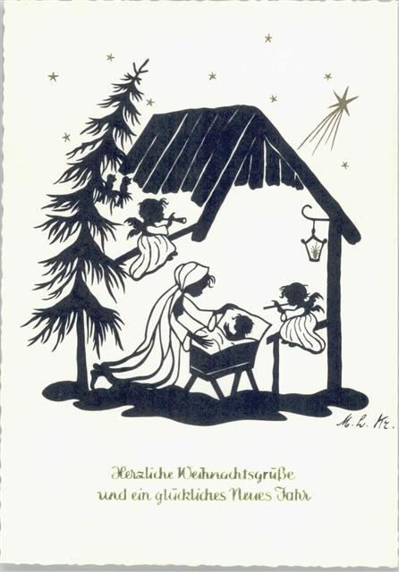 Weihnachten Scherenschnitt.Krippe Weihnachten Scherenschnitt Sign M L Kr Ansichtskarten