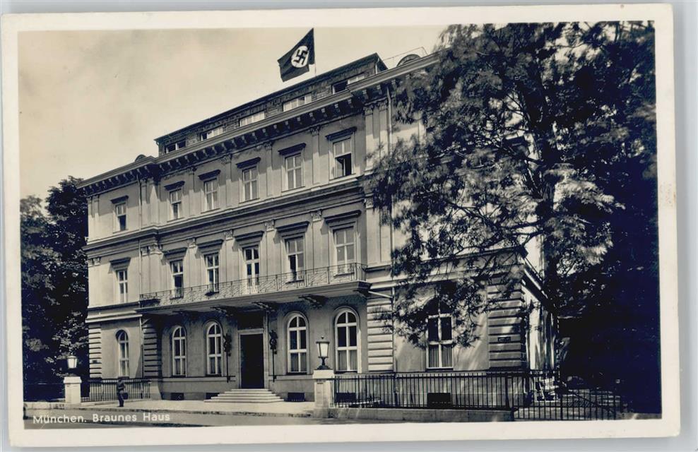 Braunes Haus münchen 1938 stadt mit hakenkreuz braunes haus foto ak fahne mit