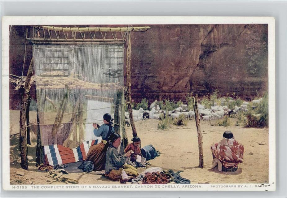Indianer Typen beim Teppich weben  Navajo Blanket, Canyon