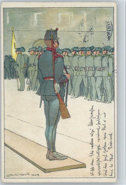 Frohe Weihnachten Jager.1910 Kunstlerkarte Uniform Sign Ludwig Koch Jager Frohe