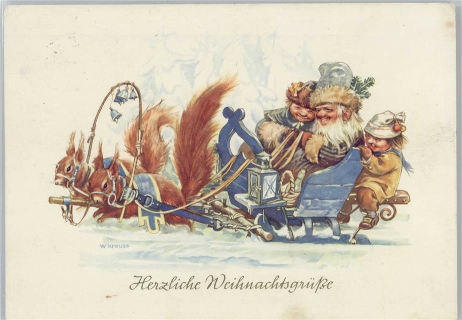 Eichhörnchen ziehen die Kutsche - Weihnachten - sign W ...