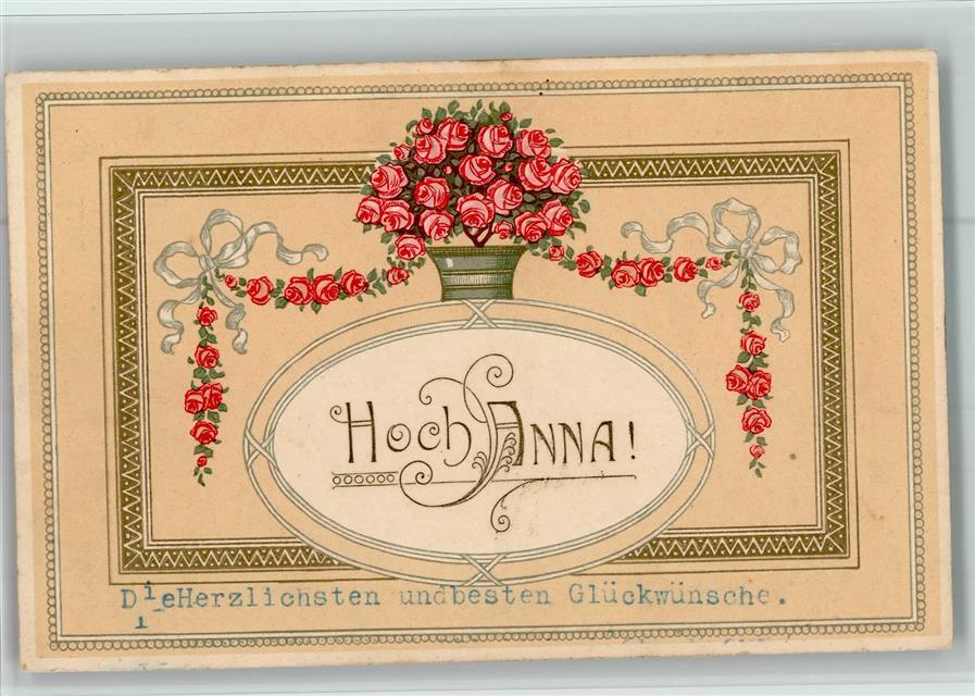 1913 Lithographie Prägedruck Name Auf Ak Hoch Anna Jugendstil