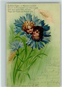 1900 Metamorphose Kinderköpfe in Kornblumen
