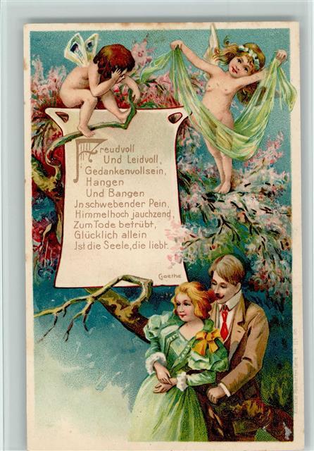 Prägedruck Amor Gedicht Von Goethe Liebespaar Elfen Und