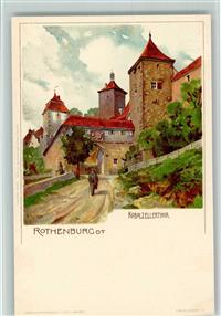 8803 Rothenburg Lithographie Velten sign. K. Mutter - Kobolzellertor AK Sehr gute