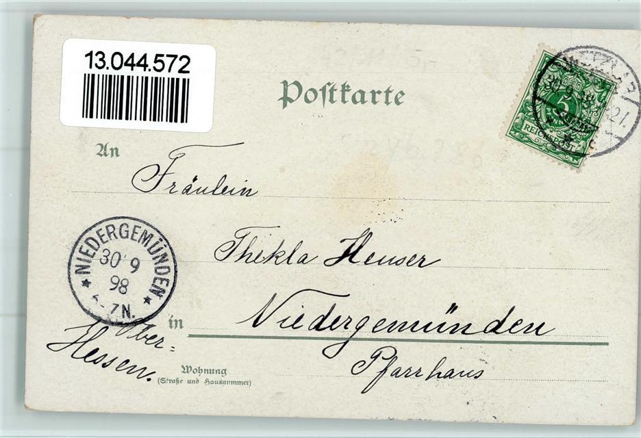 1898 Lithographie Mandt Wappen Gruss Aus Wetterau Hessen