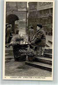 Typen a Flower Seller in Picadilly Circus AK Nr. 6  Charles Skiltosn Ltd.