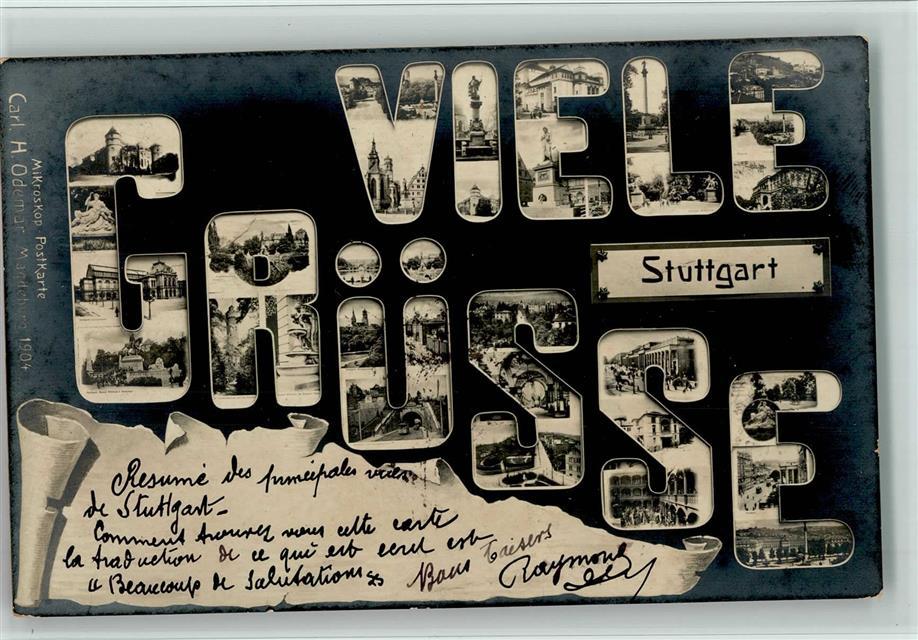 7000 stuttgart mikroskop postkarte carl odemar verlag