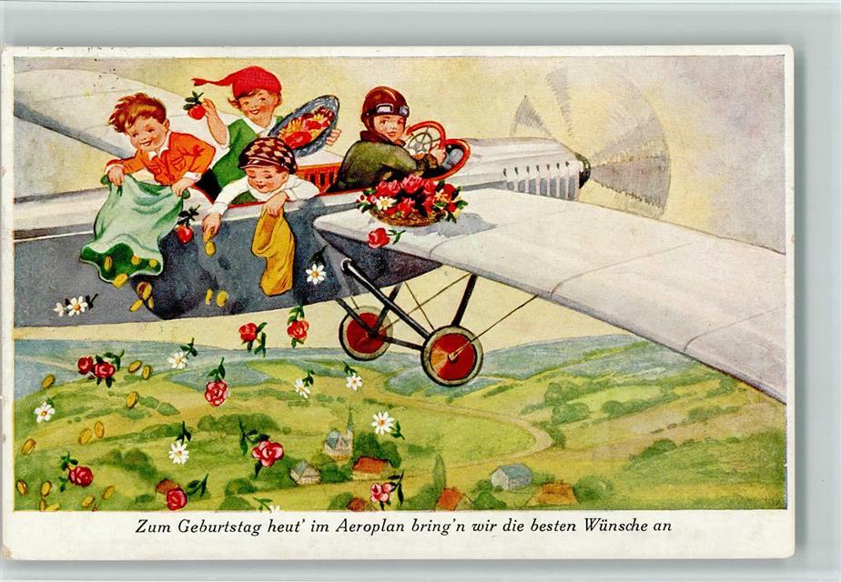 Glückwunsch Flugzeug Geburtstagswünsche Blumen Ansichtskarten