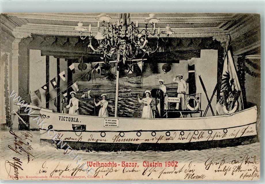 Cüstrin 1902 Gebrauchsspuren Weihnachts-Bazar Bühnenbild Schiff ...