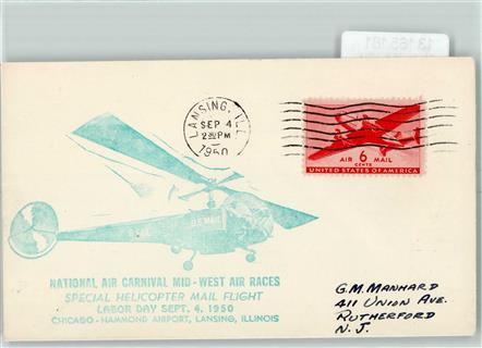 Flugpost Helicopter Mail Flight 4. Sept. 1950  Chicago-Hammond Airport , Lansing,
