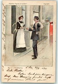London 1901 Künstlerkarte Typen Familiar Figures of London Nr. 1  The Postman Briefträger