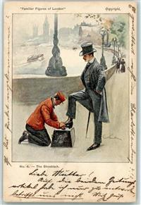 London 1901 Künstlerkarte Typen Familiar Figures of London Nr. 4  The Shoeblack