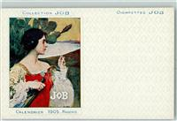 1899 Künstlerkarte Collection JOB Calendrier 1905 Maxence  Zigaretten Jugendstil AK