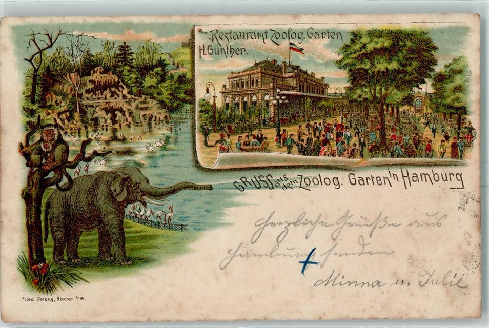 2000 Hamburg 1895 Lithographie Zoo Gruss Aus Zoologischer Garten Ak