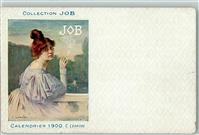 1900 Gebrauchsspuren Collection JOB sign. C. Leandre Calendrier 1900  Zigarette AK
