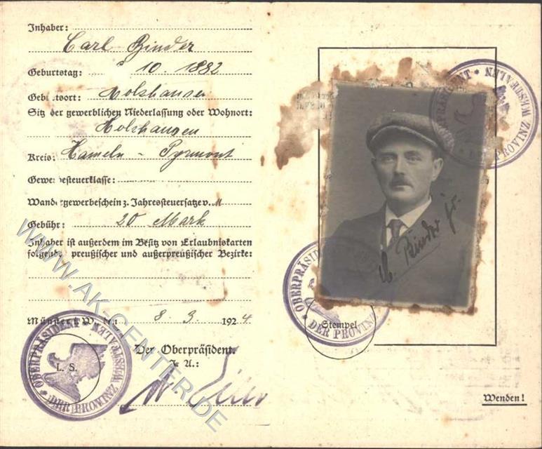 3250 Hameln KEINE AK Ausweis Erlaubniskarte zum Viehhandel von 1924 ...