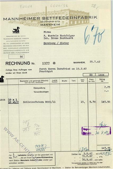 6800 Mannheim Briefkopf Rechnung Von 1942 Mannheimer