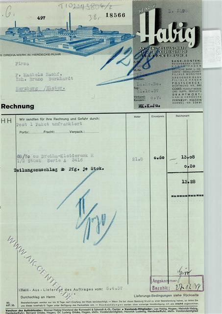 5804 Herdecke Briefkopf Rechnung Von 1937 Habig Ag Stoffdruckerei