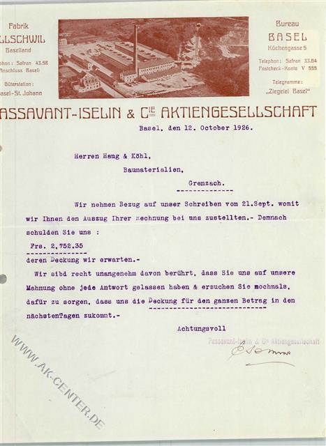 Basel Briefkopf Rechnung Von 1926 Passavant Iselin Und Cie Ziegelei